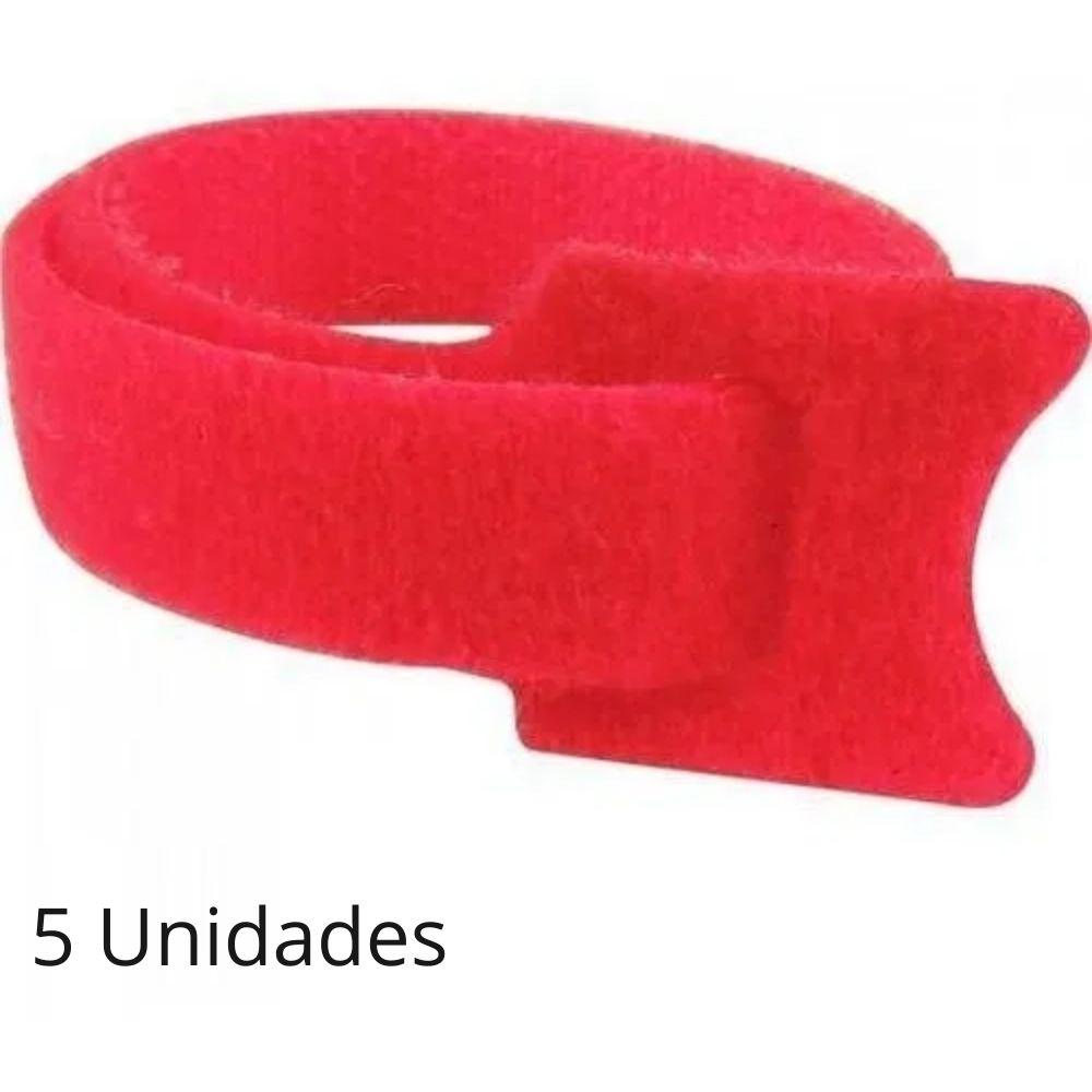 Abraçadeira para Cabos Velcro 330mm x 14mm Vermelho Brasfort - Kit com 5