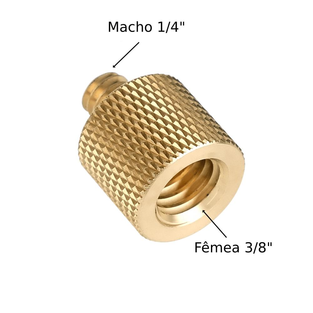 """Adaptador de Parafuso 3/8"""" Fêmea para 1/4"""" Macho Dourado"""