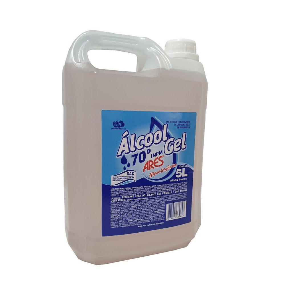 Álcool em Gel 70° 5 litros Ares  - Casa do Roadie