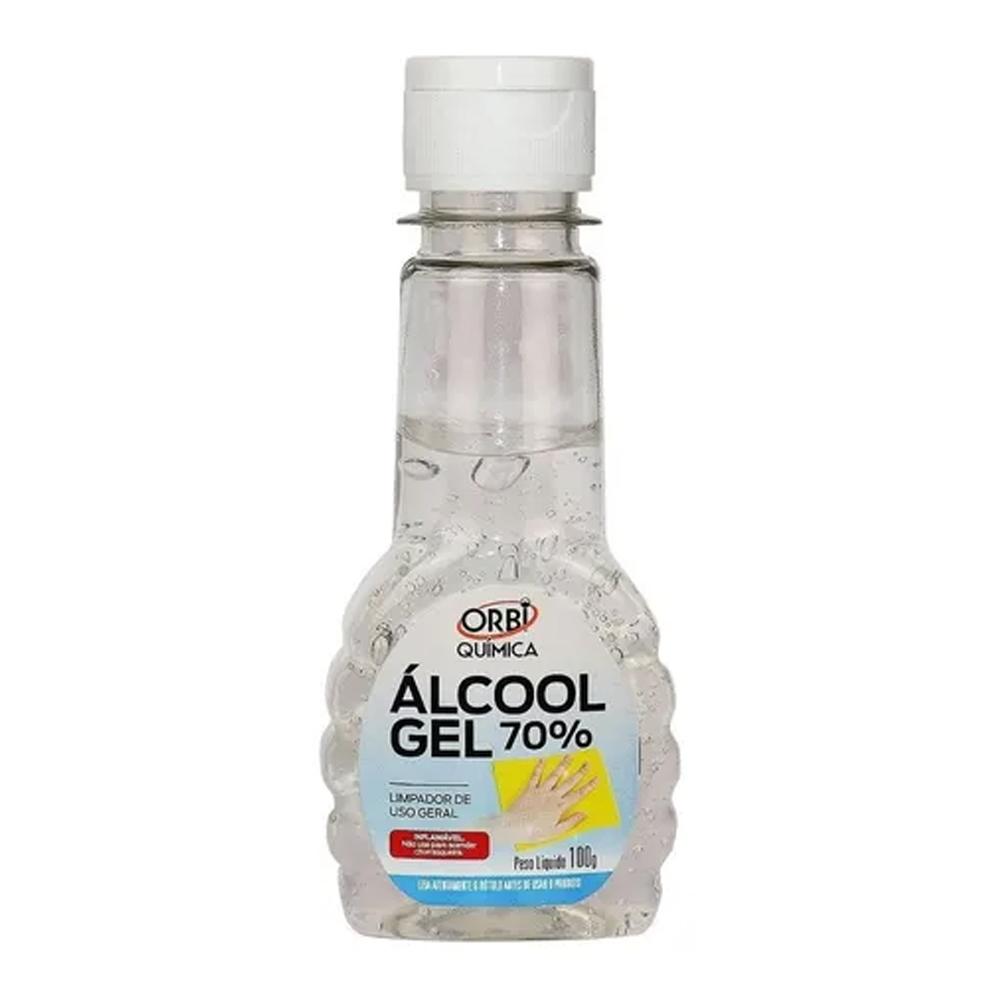 Álcool em Gel Solução 73° Orbi 100g - Caixa com 24 unidades  - Casa do Roadie