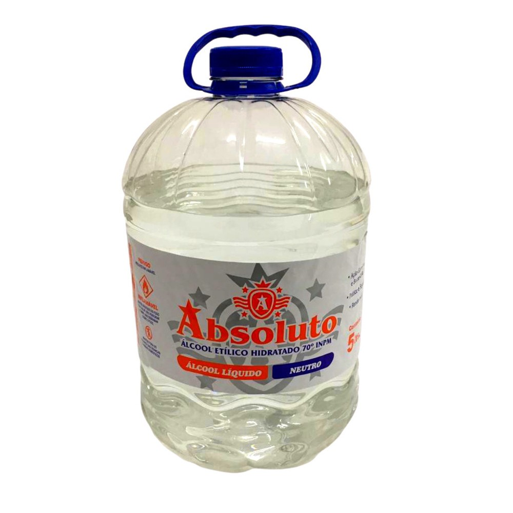 Álcool Liquido Absoluto  70% 5 Litros
