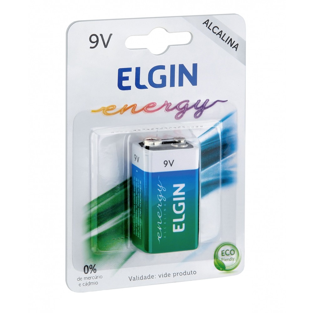Bateria Alcalina 9V Elgin  - Casa do Roadie