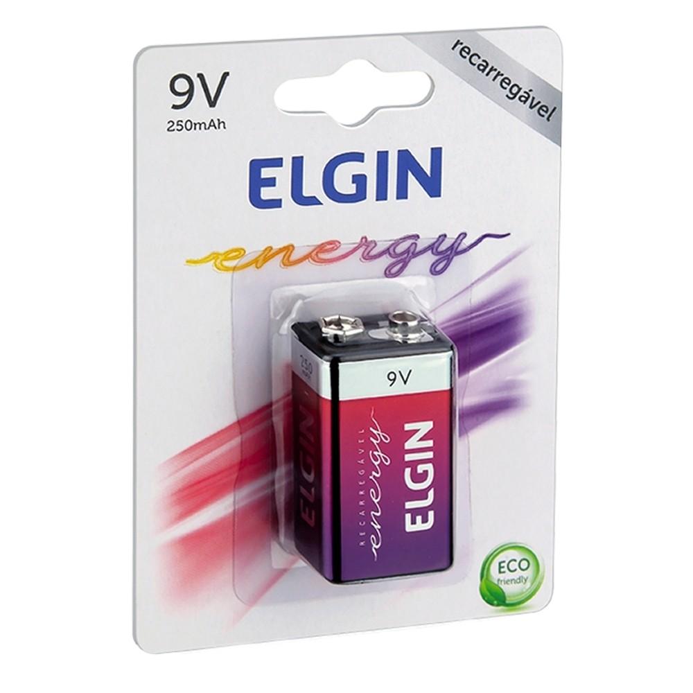 Bateria Recarregável 9V 250mAh Elgin  - Casa do Roadie