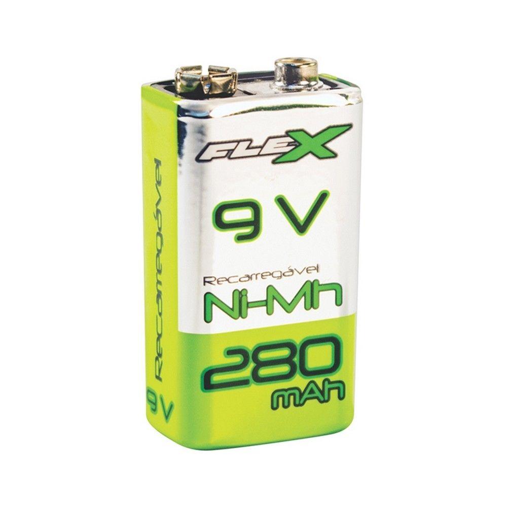 Bateria Recarregável 9V 280mAh Flex