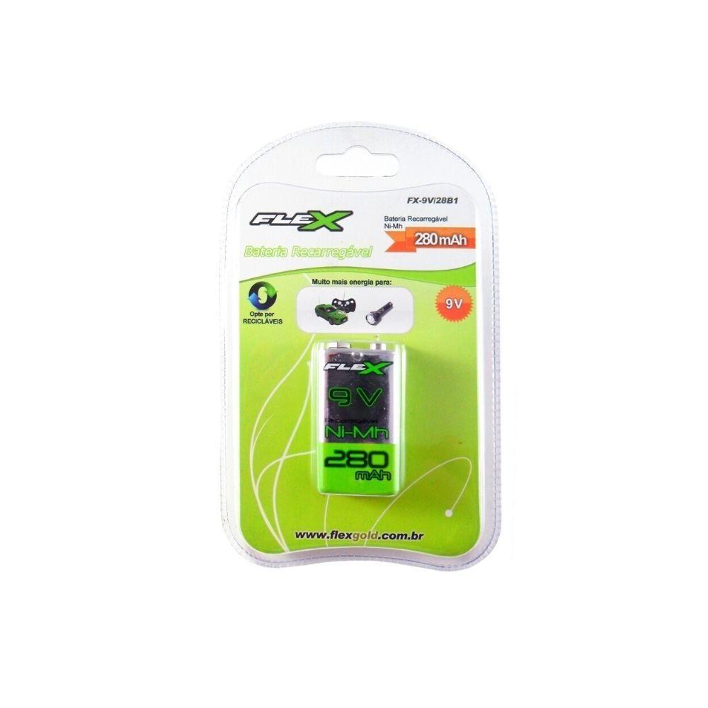 Bateria Recarregável 9V 280mAh Flex  - Casa do Roadie