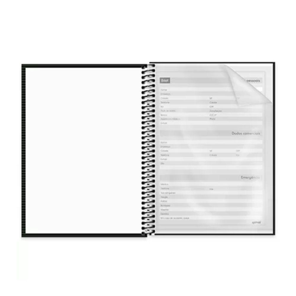 Caderno Espiral Capa Dura Preta Universitário 1x1 80 Folhas  - Casa do Roadie
