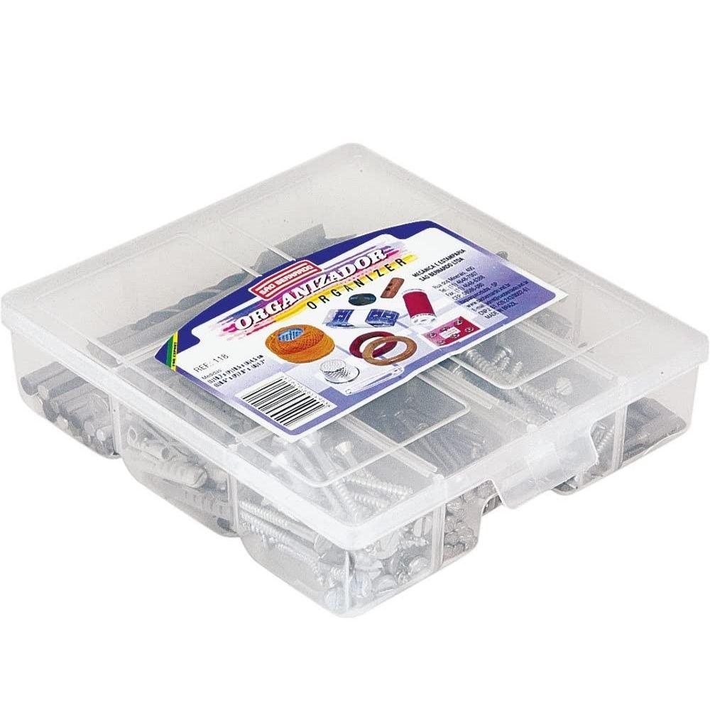 Caixa Organizadora Plástica com divisória 19,5cm X 16,6cm X 4,7cm São Bernardo  - Casa do Roadie