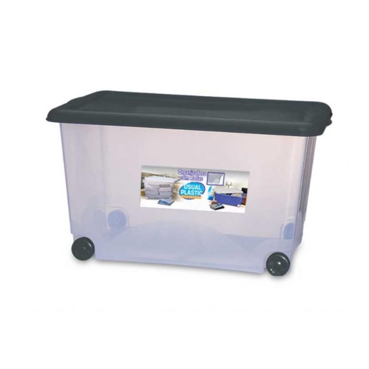 Caixa Organizadora Plástica com rodas 50 litros Usual Plastic  - Casa do Roadie