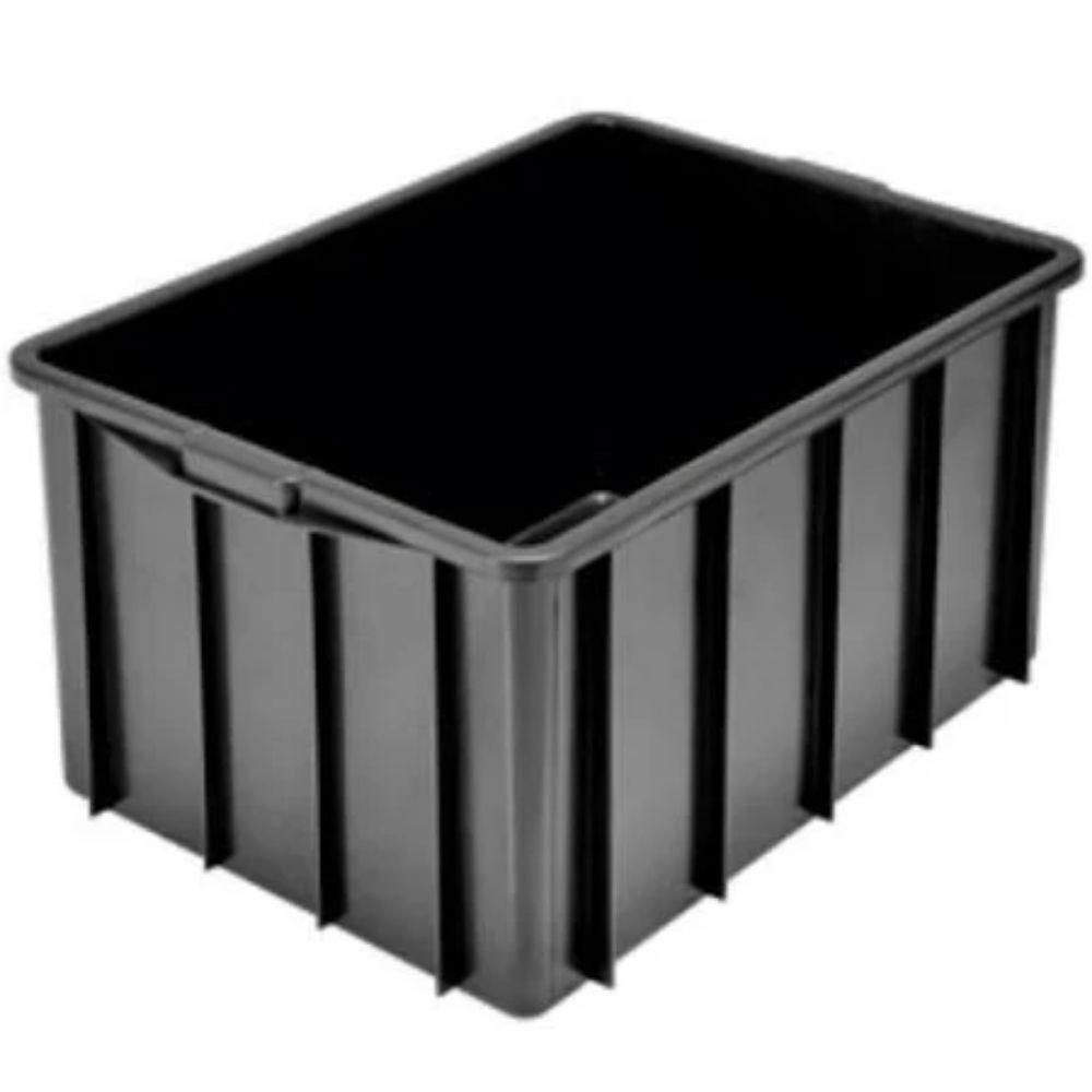 Caixa Plástica Fechada Preta sem tampa 38L