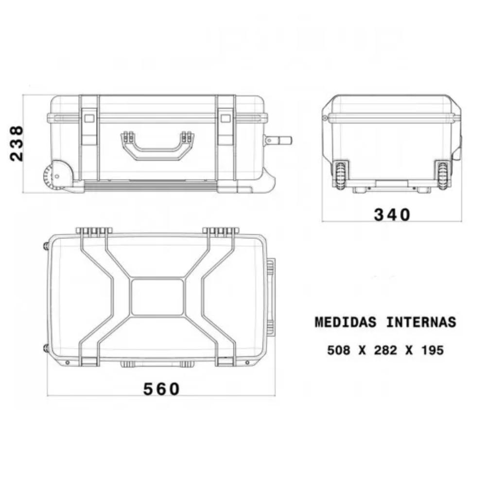 Case Rígido Patola MP-0055 Com Rodas Preta