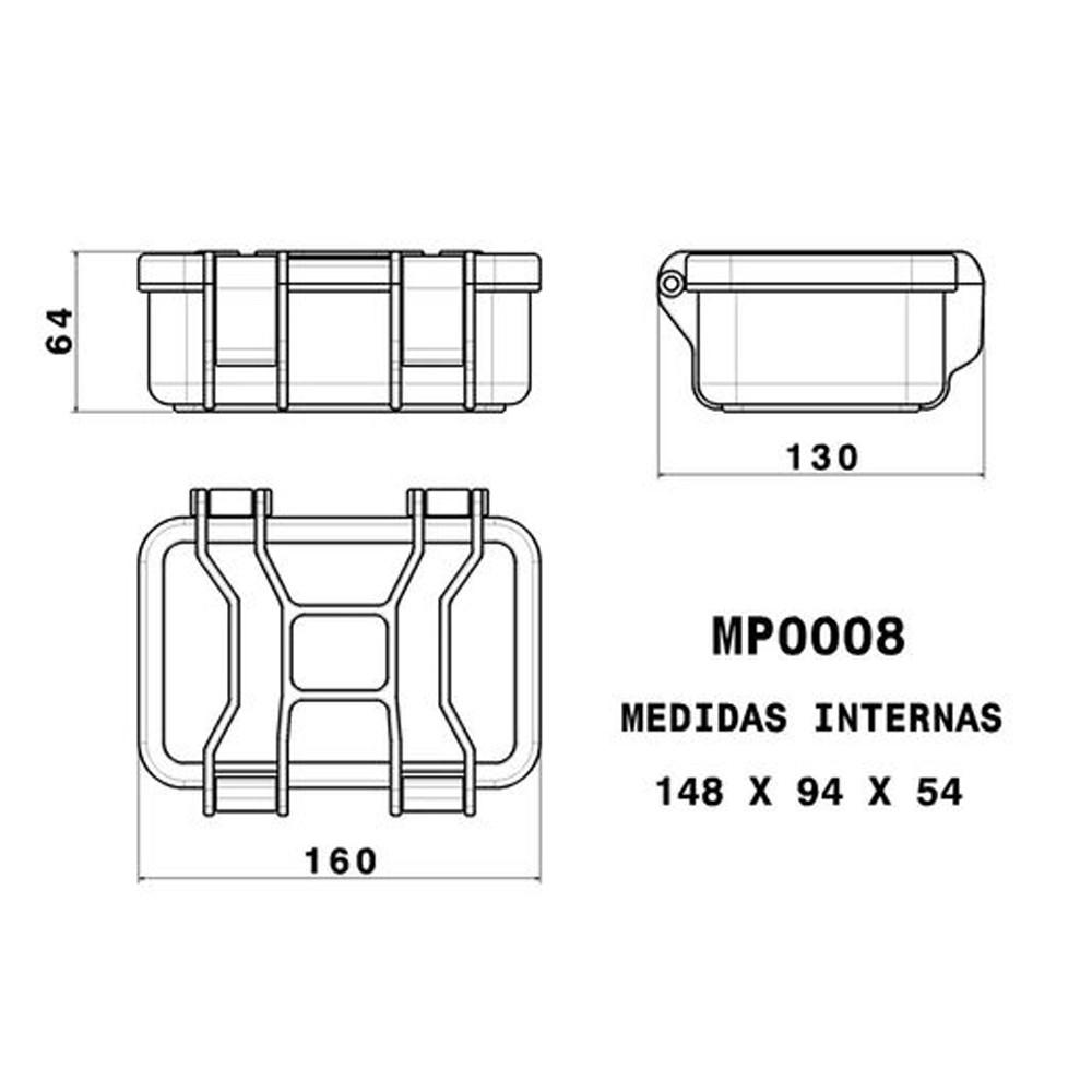 Case Rígido Patola MP-008 Laranja com Espuma  - Casa do Roadie