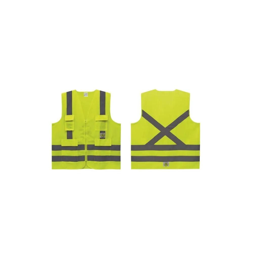 Colete de Segurança Refletivo com 4 Bolsos Super Safety Amarelo GG  - Casa do Roadie
