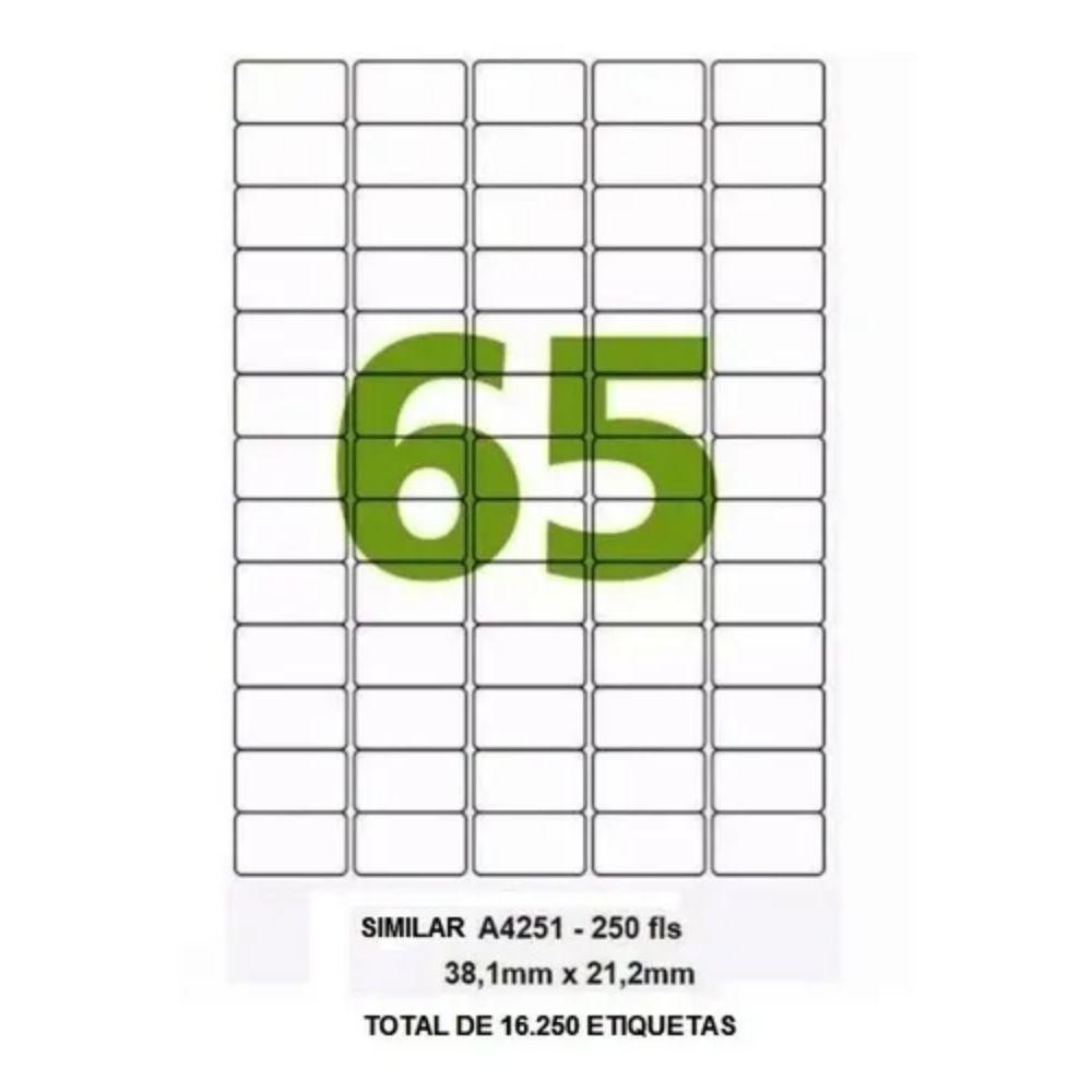 Etiqueta Adesiva 3,8cm x 2,1cm Formato A4 com 65 etiquetas por folha - pct/ com 250 folhas