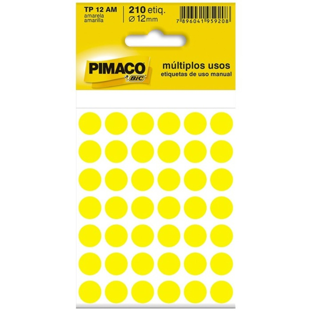 Etiqueta Adesiva Pimaco TP12 12mm Amarela com 210 Unidades