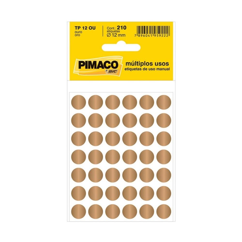 Etiqueta Adesiva Pimaco TP12 12mm Ouro com 210 Unidades