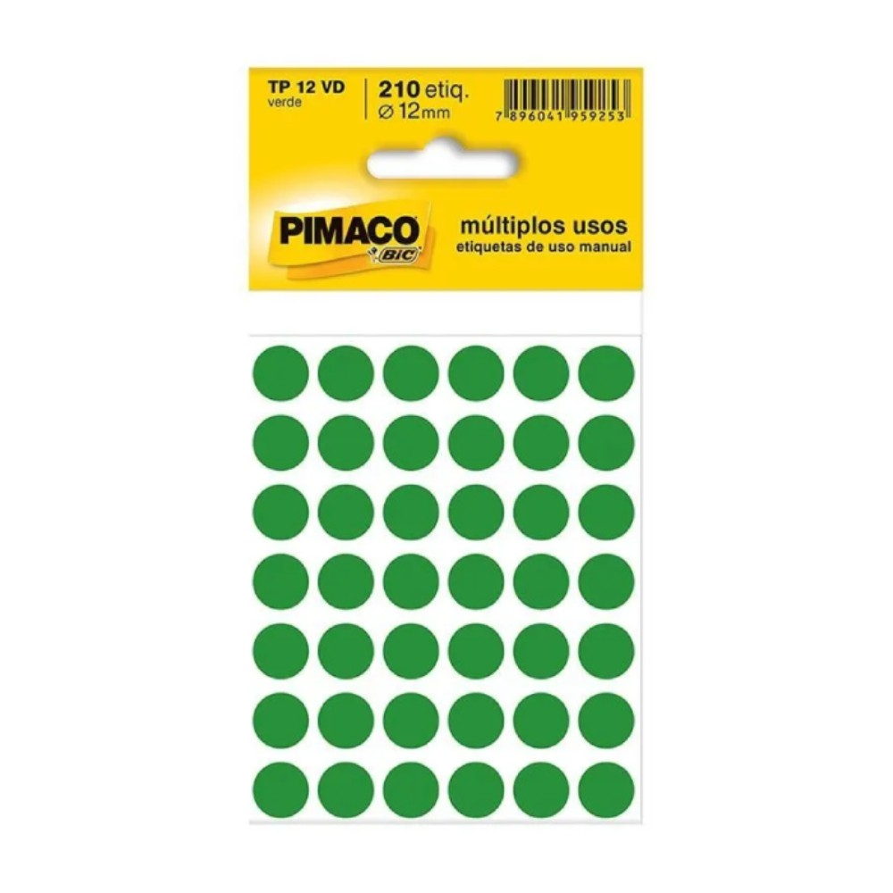 Etiqueta Adesiva Pimaco TP12 12mm Verde com 210 Unidades