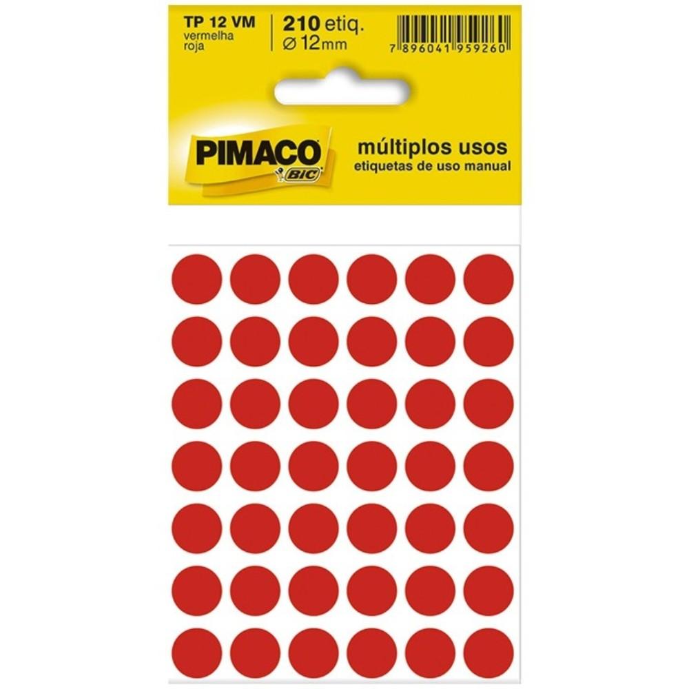 Etiqueta Adesiva Pimaco TP12 12mm Vermelha com 210 Unidades