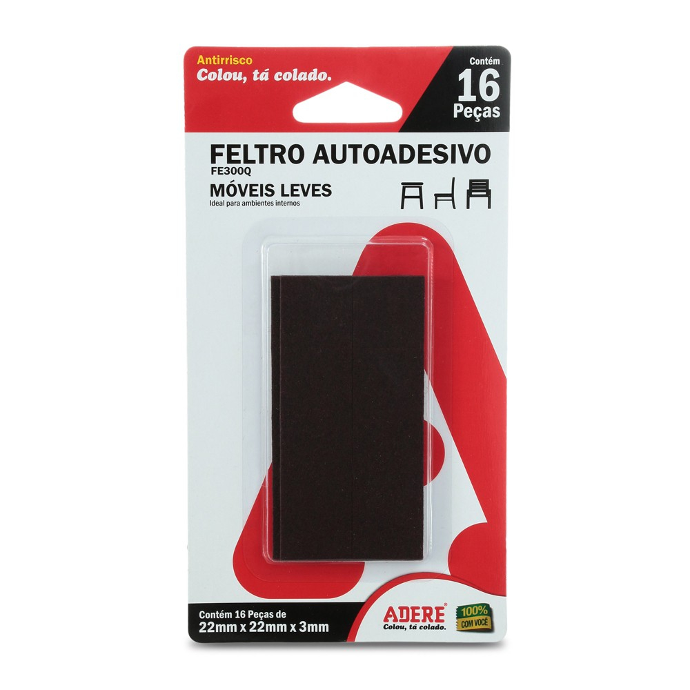 Feltro Autoadesivo Quadrado FE300Q Adere 22mm X 22mm  - Casa do Roadie