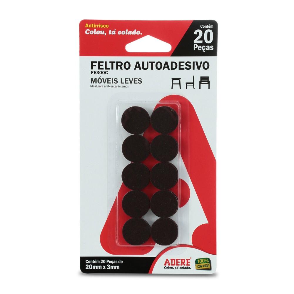 Feltro Autoadesivo Redondo Adere 20mm X 3mm Preto - 20 Unidades