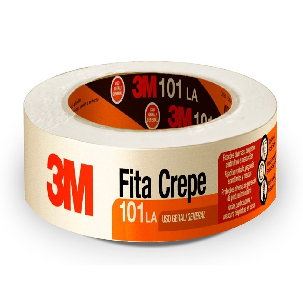 Fita de Papel Crepe Colorida 101LA 3M 48mm X 50m Branca