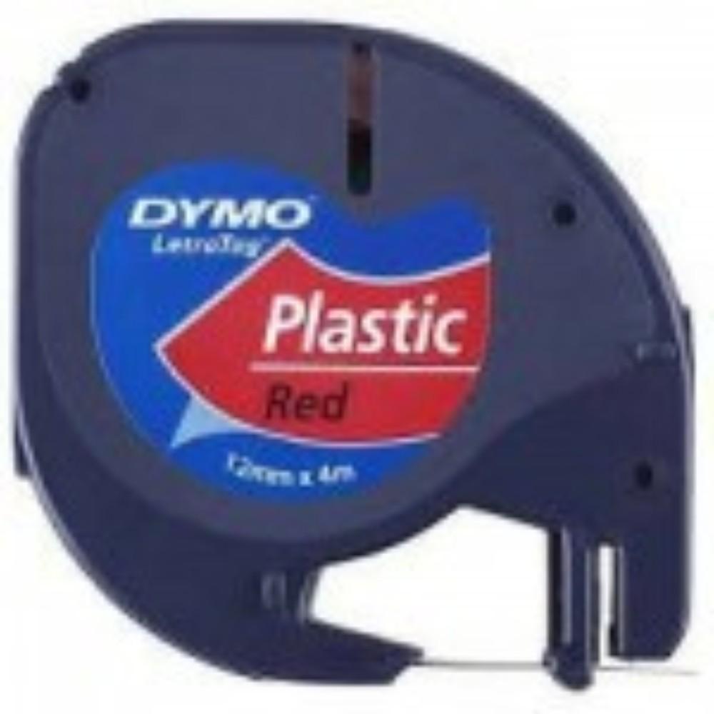 Fita de Papel para Rotulador Letratag Dymo 12mm X 4m Vermelho