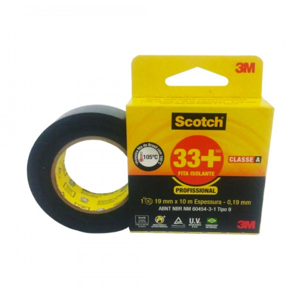 Fita de PVC Isolante 33+ Scotch 3M 19mm X 10m Preta  - Casa do Roadie