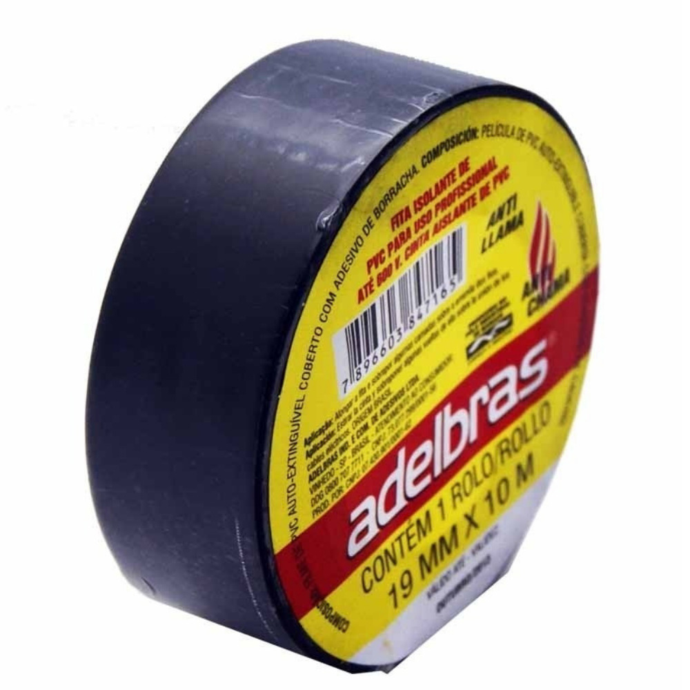 Fita de PVC Isolante Adelbras 19mm X 10m Preta