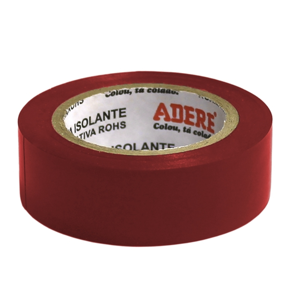 Fita de PVC Isolante Adere 19mm X 10m Vermelha  - Casa do Roadie