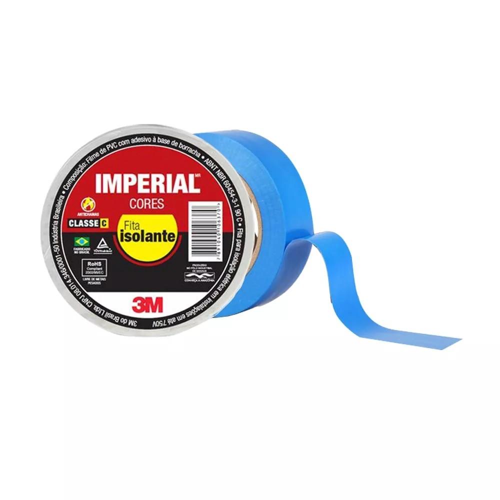 Fita de PVC Isolante Imperial 3M 18mm X 10m Azul  - Casa do Roadie