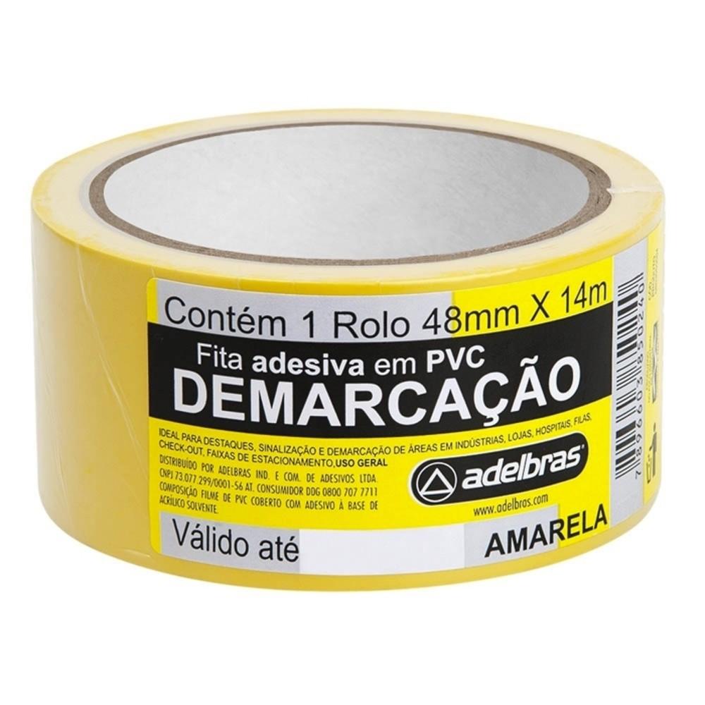 Fita de PVC para Demarcação de Solo Adelbras 48mm X 14m Amarela  - Casa do Roadie