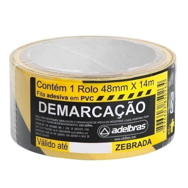Fita de PVC para Demarcação de Solo Adelbras 48mm X 14m Amarela e Preta