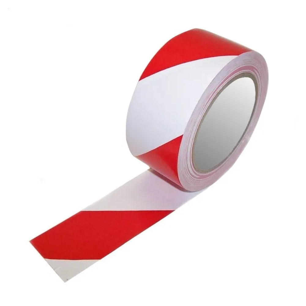 Fita de PVC para Demarcação de Solo Adere 50mm X 30m Branca e Vermelha  - Casa do Roadie