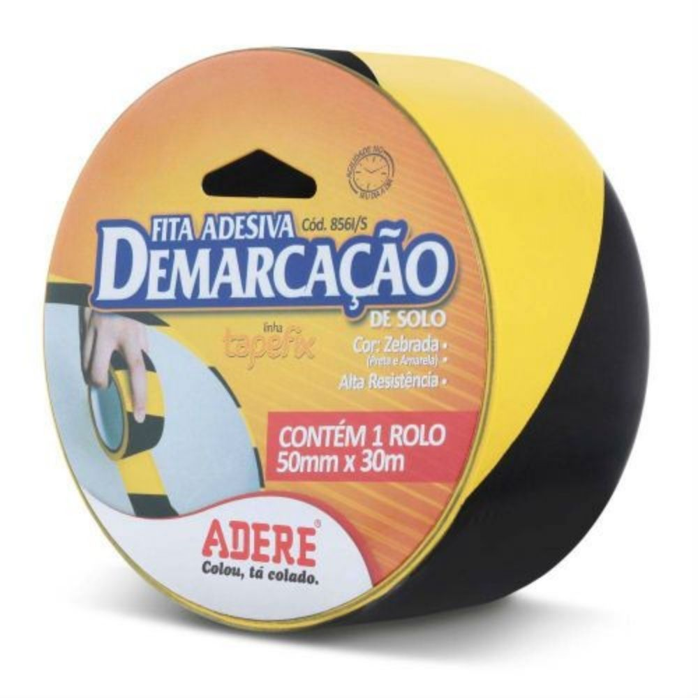 Fita de PVC para Demarcação de Solo Zebrada Adere 50mm X 30m Amarela e Preta