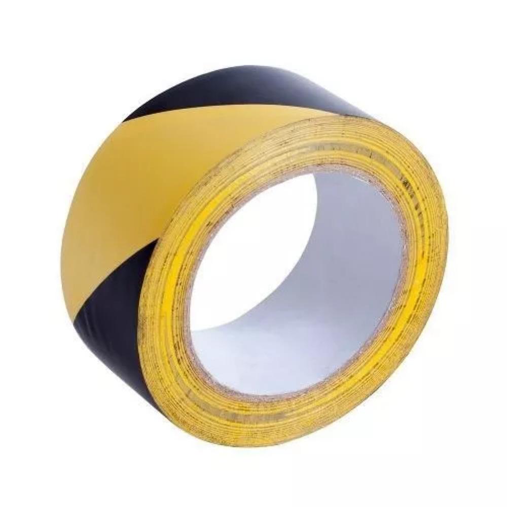 Fita de PVC para Demarcação de Solo Zebrada THR 48mm X 30m Amarela e Preta  - Casa do Roadie