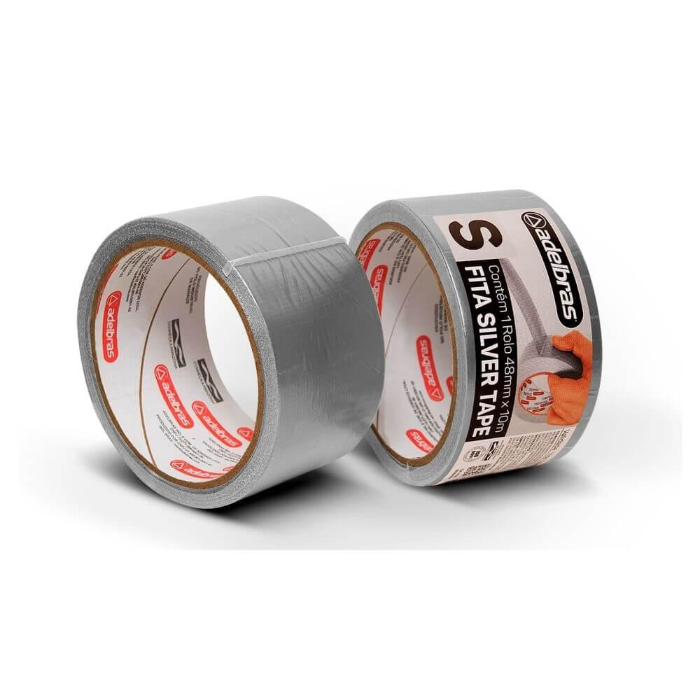 Fita de PVC Silver Tape Multiuso Adelbras 48mm X 10m Prata