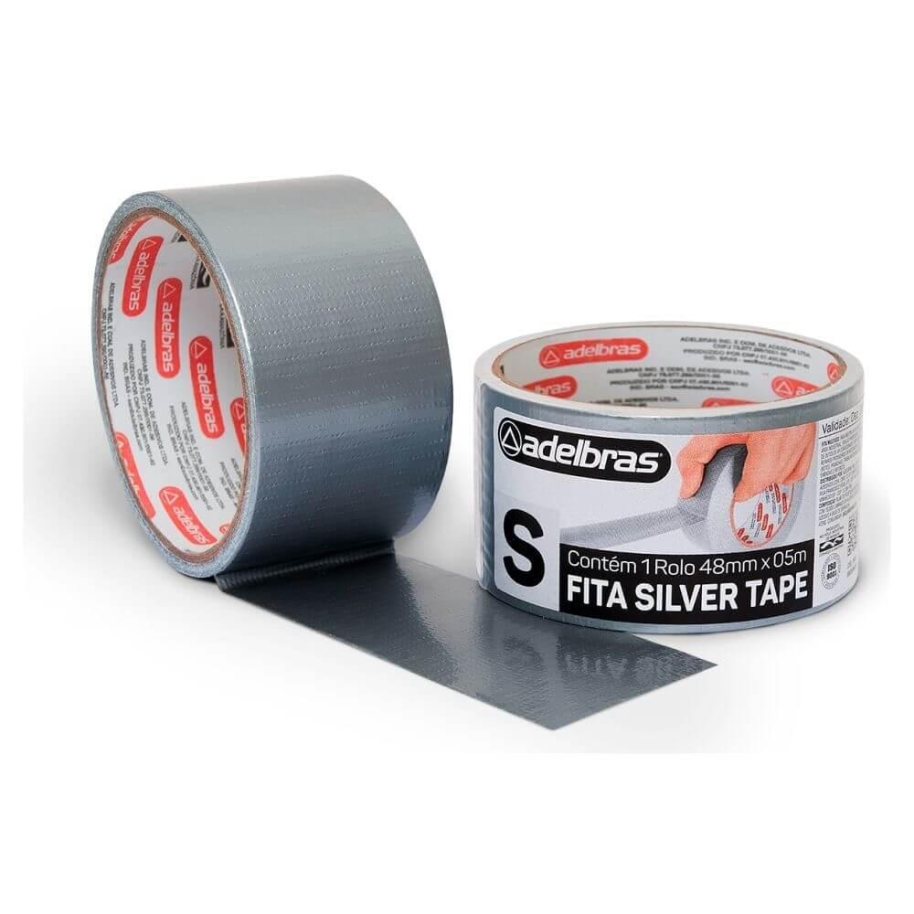 Fita de PVC Silver Tape Multiuso Adelbras 48mm X 5m Prata