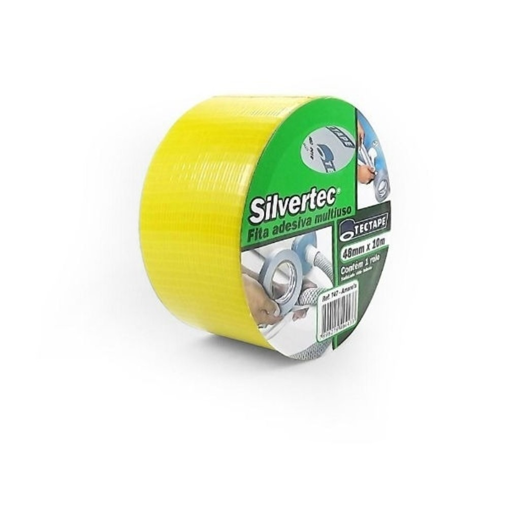 Fita de PVC Silver Tape Multiuso Tectape 48mm X 10m Amarela  - Casa do Roadie