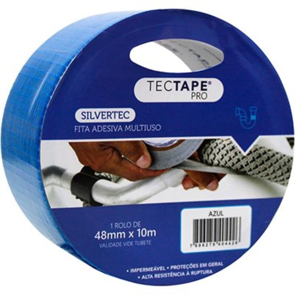 Fita de PVC Silver Tape Multiuso Tectape 48mm X 10m Azul