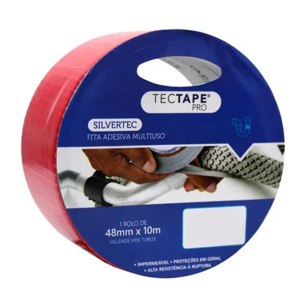 Fita de PVC Silver Tape Multiuso Tectape 48mm X 10m Vermelha