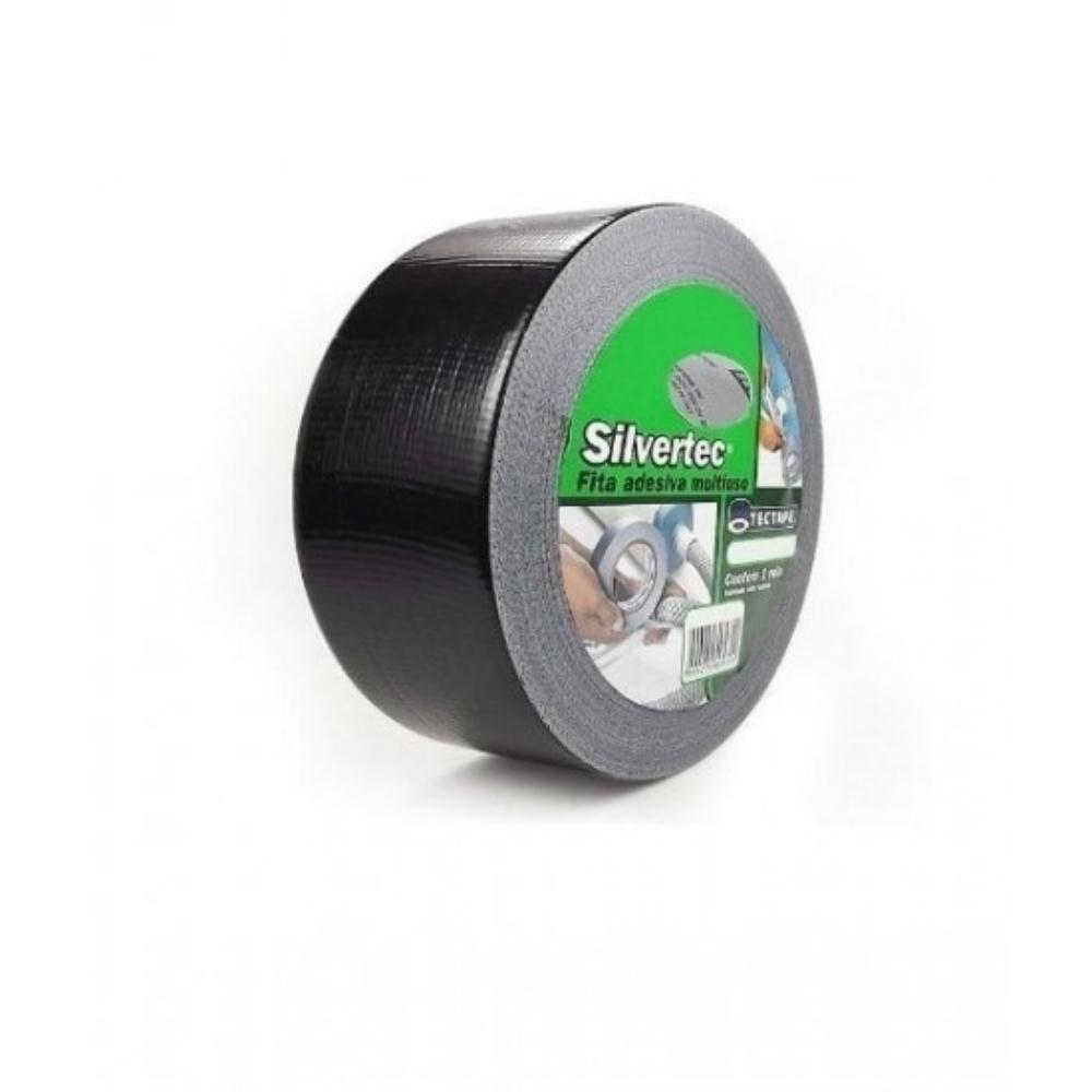 Fita de PVC Silver Tape Multiuso Tectape 48mm X 50m Preta 717 PLUS