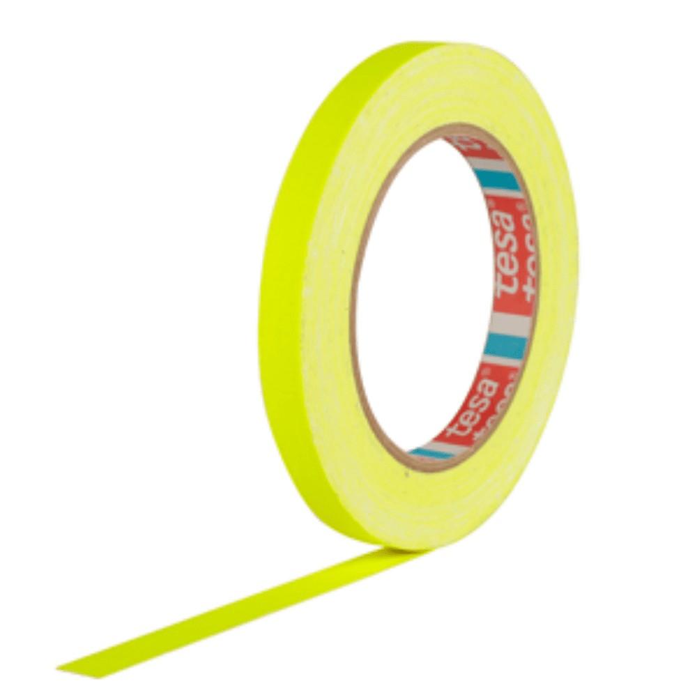 Fita de Tecido Gaffer Tape Tesa 12mm X 25m Amarela Fluorescente