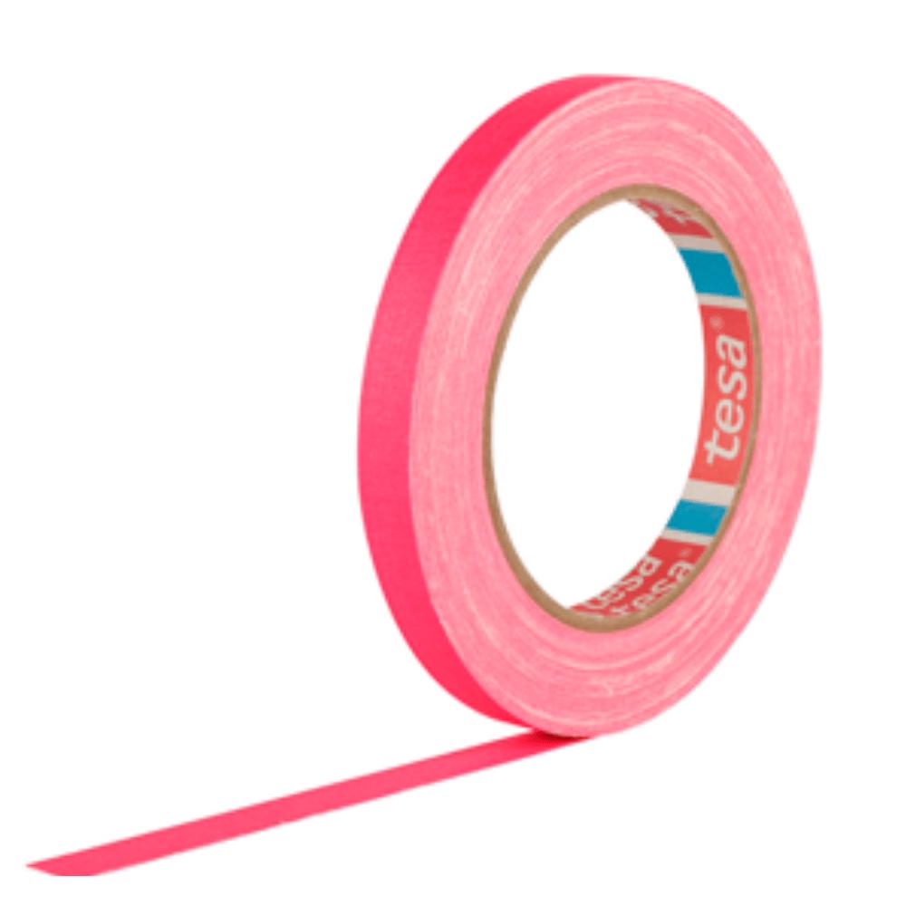 Fita de Tecido Gaffer Tape Tesa 12mm X 25m Rosa Fluorescente