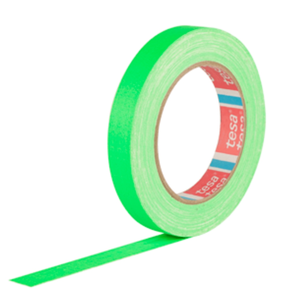 Fita de Tecido Gaffer Tape Tesa 18mm X 25m Verde Fluorescente  - Casa do Roadie