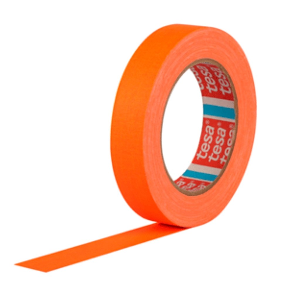 Fita de Tecido Gaffer Tape Tesa 24mm X 25m Laranja Fluorescente  - Casa do Roadie
