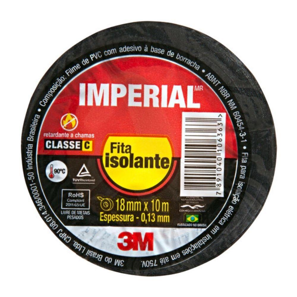Fita Isolante Imperial 3M 18mm X 10m Preta  - Casa do Roadie