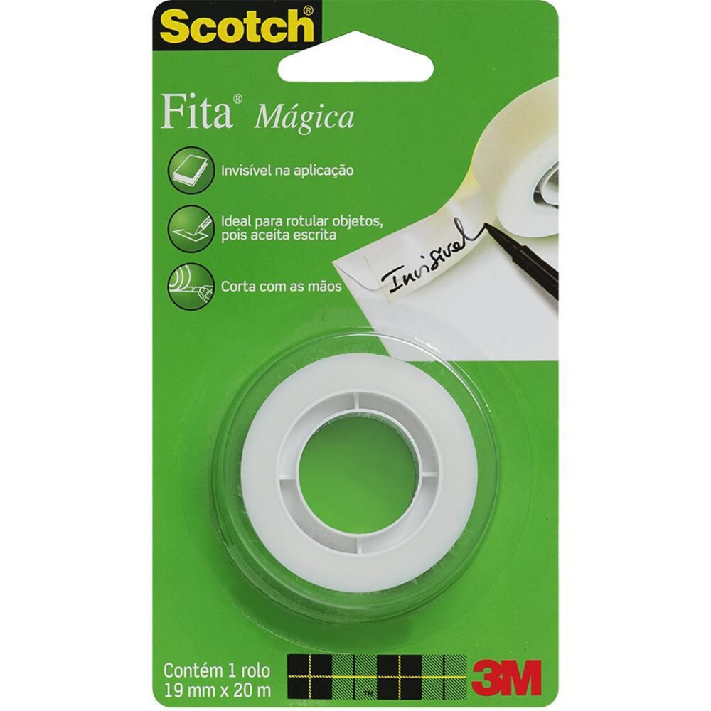 Fita Plástica Fita Mágica Scotch 3M 19mm X 20m Transparente