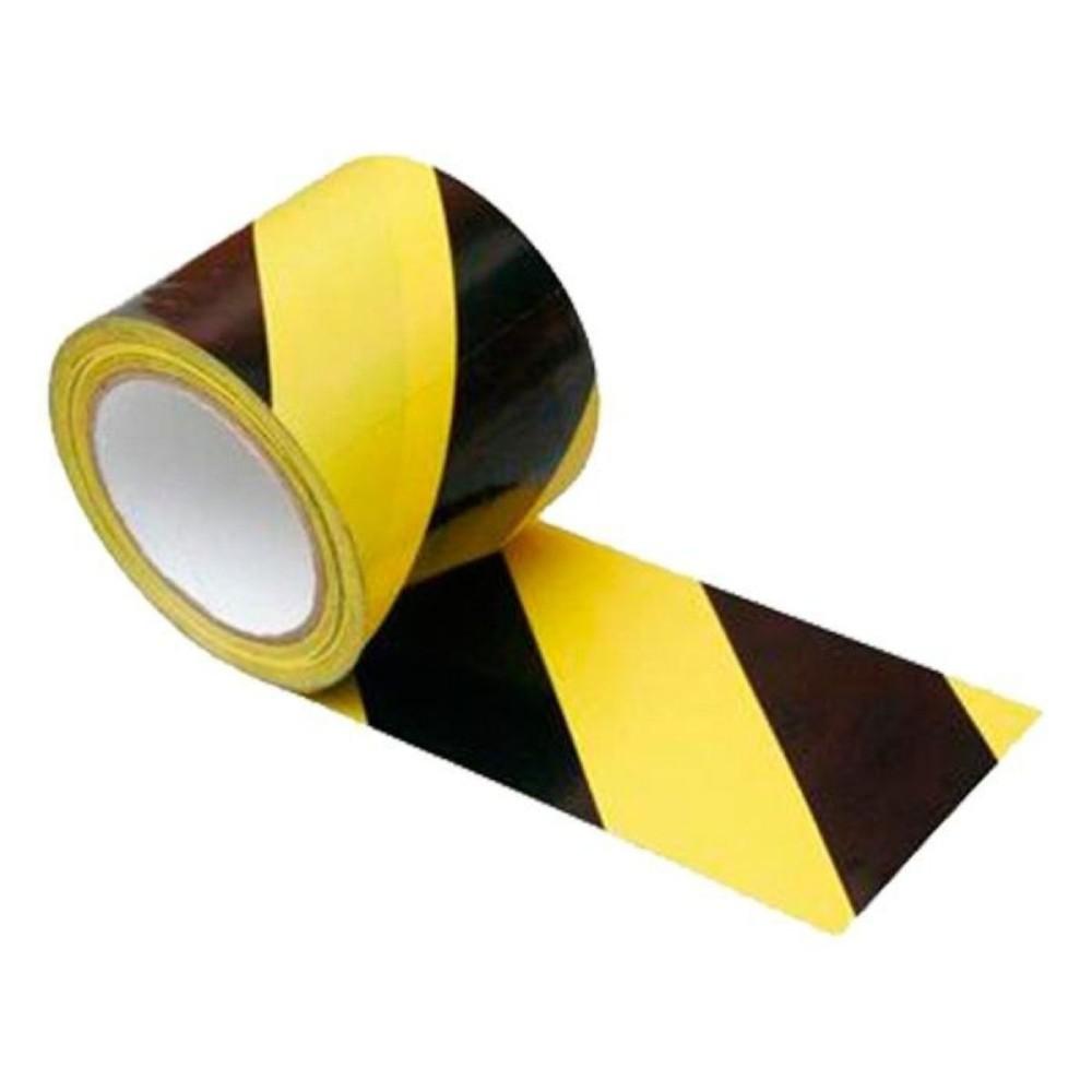 Fita Plástica para Demarcação de Área Zebrada THR 69mm X 200m Amarela e Preta  - Casa do Roadie