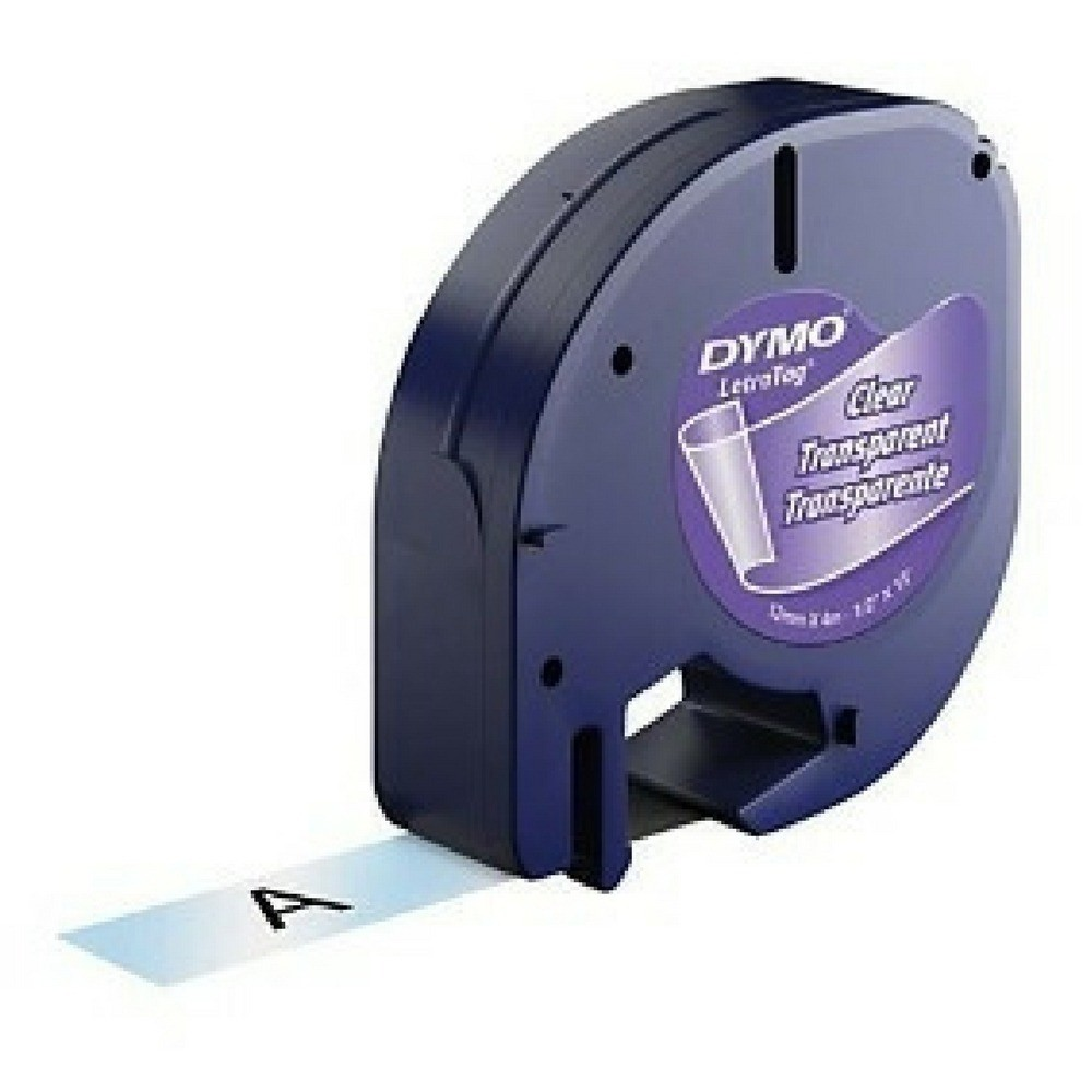 Fita Plástica para Rotulador Letratag Dymo 12mm X 4m Transparente  - Casa do Roadie