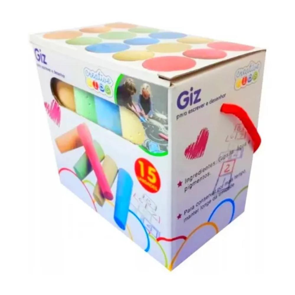 Giz Grande Colorido Caixa com 15 unidades  - Casa do Roadie