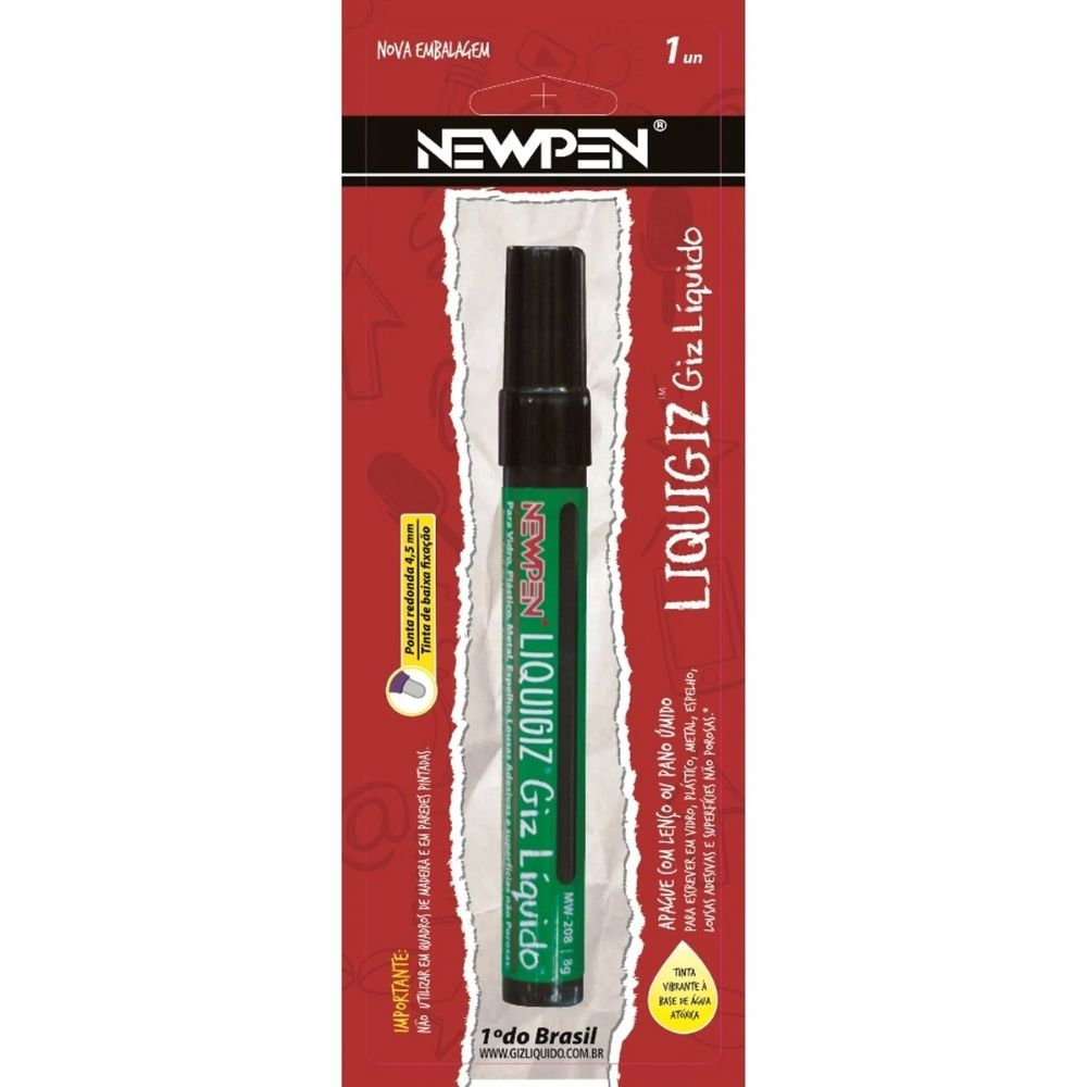 Giz Líquido Redondo 4,5mm Preto Newpen - Blister  - Casa do Roadie